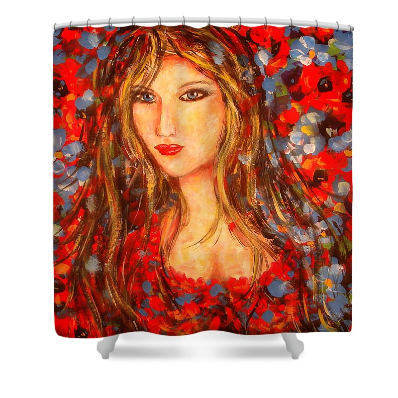 Portrait Shower Curtain featuring the painting Valentina by Natalie Holland