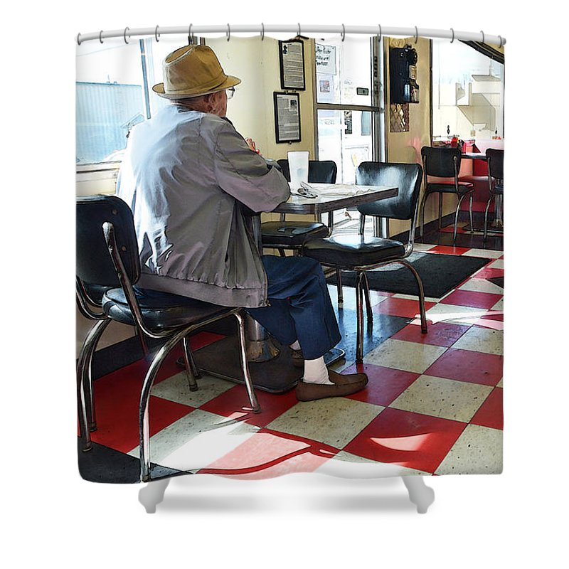 Valentine Shower Curtain featuring the photograph Valentine Diner Interior by Catherine Sherman