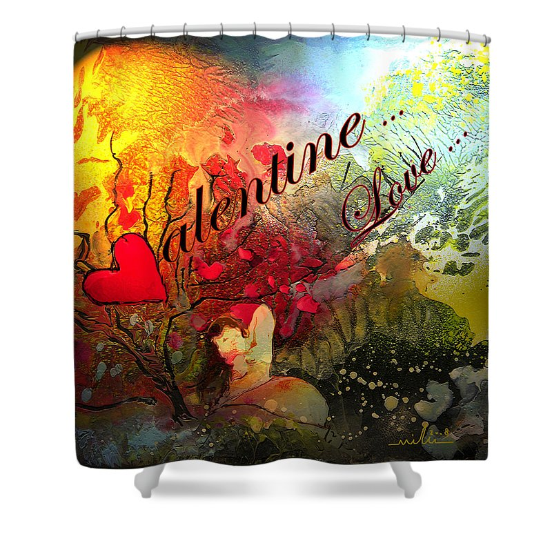 Valentine Shower Curtain featuring the painting Valentine by Miki De Goodaboom