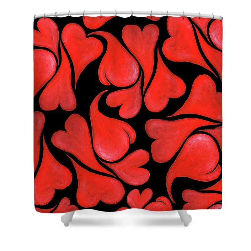 Hearts Shower Curtain featuring the painting Valentines Hearts by Nancy Mueller