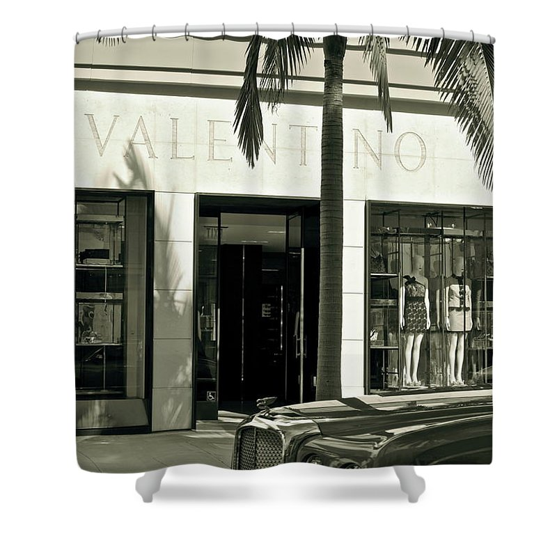 Valentino Shower Curtain featuring the photograph Valentino On Rodeo Drive by Gwyn Newcombe
