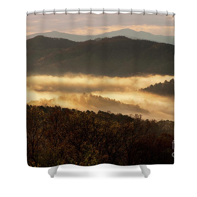 Foothills Parkway Shower Curtain featuring the photograph Valley Fog At Sunrise Two by Bob Phillips