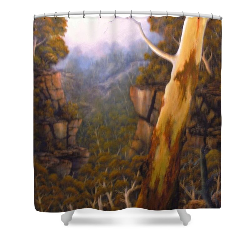 Gumtree Oil Painting Shower Curtain featuring the painting Valley Morning Dew by John Cocoris