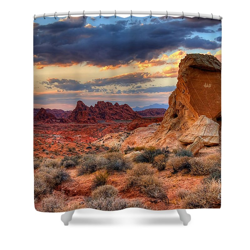 Valley Of Fire Shower Curtain featuring the photograph Valley Of Fire by James Anderson
