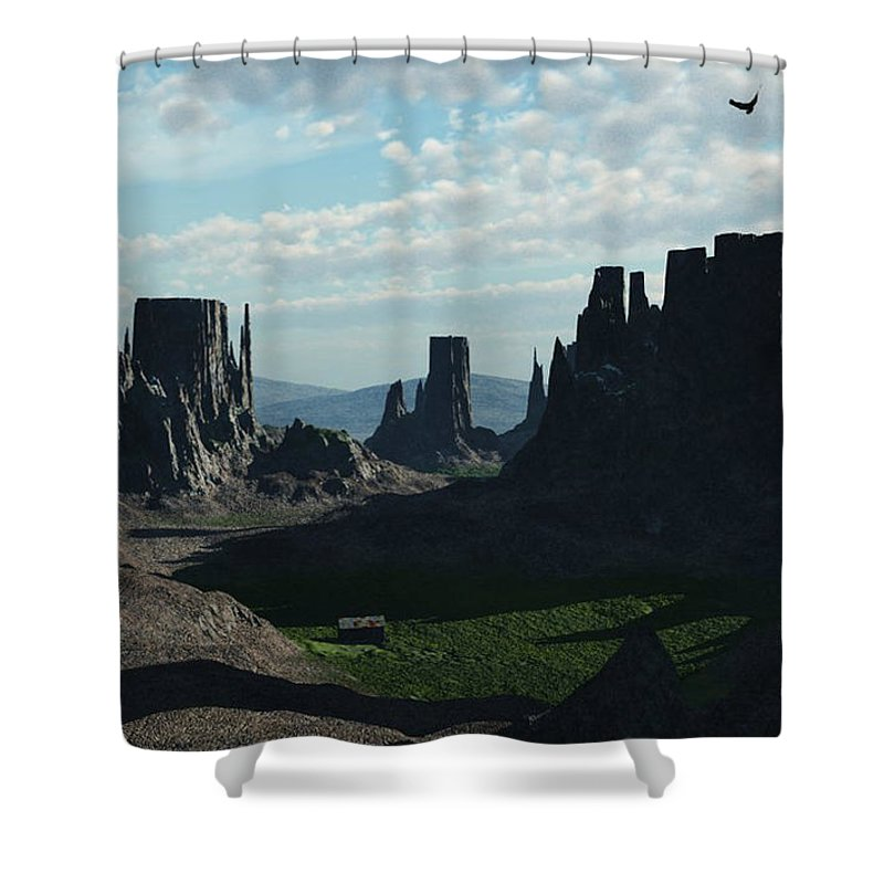 Valley Shower Curtain featuring the digital art Valley Of The Kings by Richard Rizzo