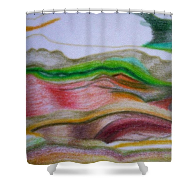 Abstract Shower Curtain featuring the painting Valley Stream by Suzanne Udell Levinger
