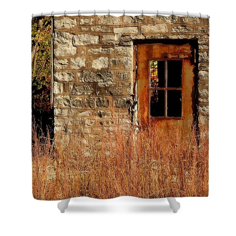 Limestone Shower Curtain featuring the photograph Valmeyer Limestone by Helen ONeal