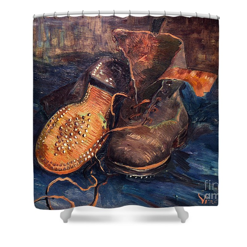 1887 Shower Curtain featuring the photograph Van Gogh: The Shoes, 1887 by Granger