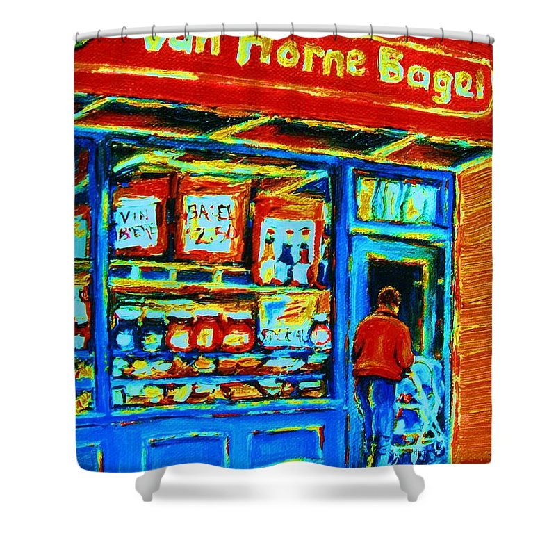 Van Horne Bagel Shower Curtain featuring the painting Van Horne Bagel by Carole Spandau
