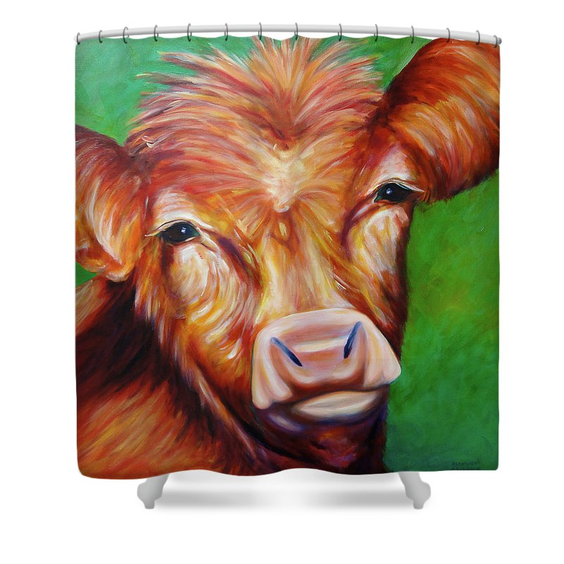 Bull Shower Curtain featuring the painting Van by Shannon Grissom