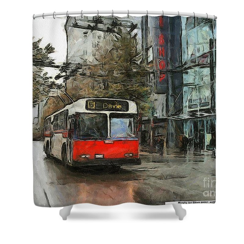 Vancouver Shower Curtain featuring the painting Vancouver Streets by Murphy Elliott