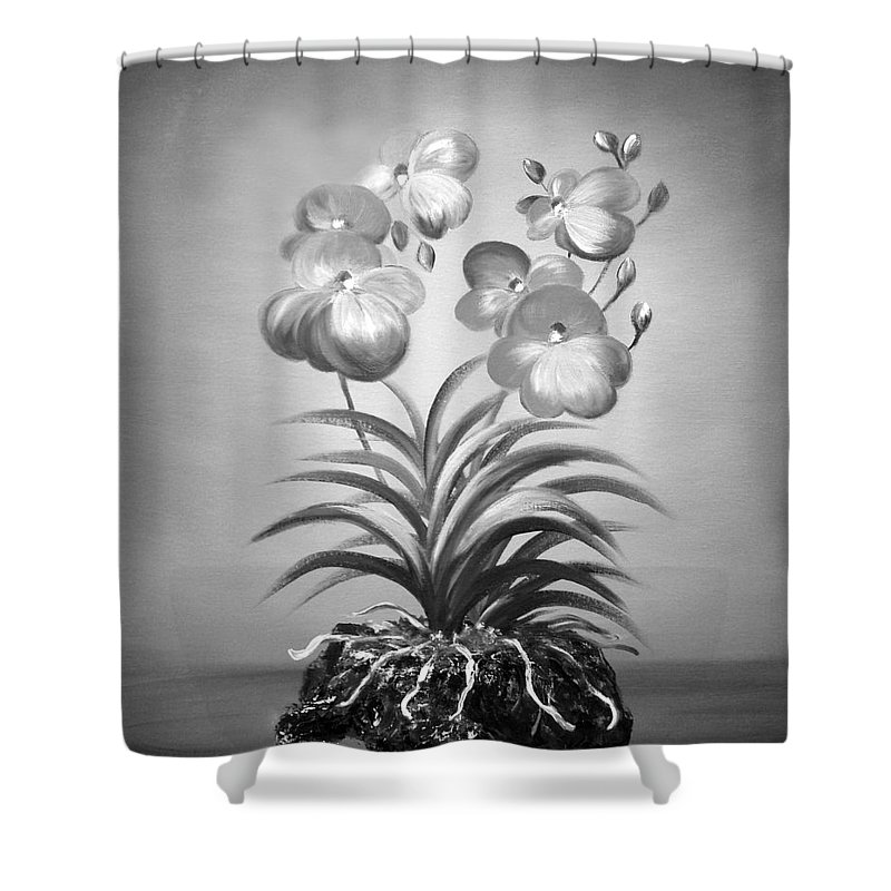 Black And White Shower Curtain featuring the painting Vanda Orchids in Black and White by Gina De Gorna