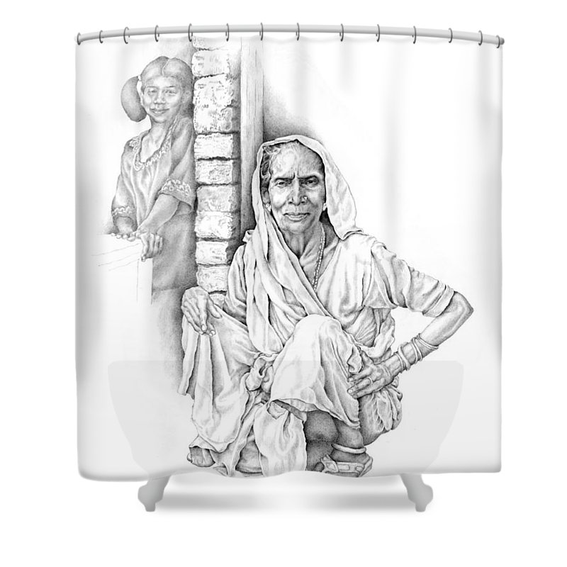 Drawing Shower Curtain featuring the drawing Varanasi Woman by Karla Beatty