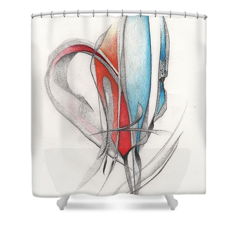 Art Shower Curtain featuring the drawing Variations by Rick Yost