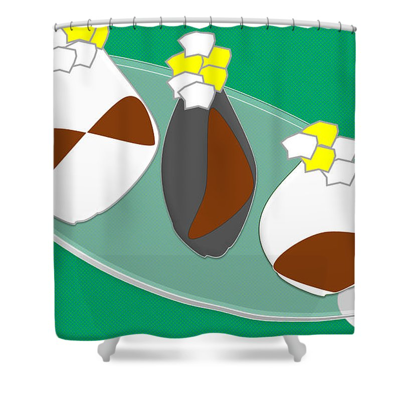 Shapes Shower Curtain featuring the digital art Vase And Flowers by Shirlena Rudder