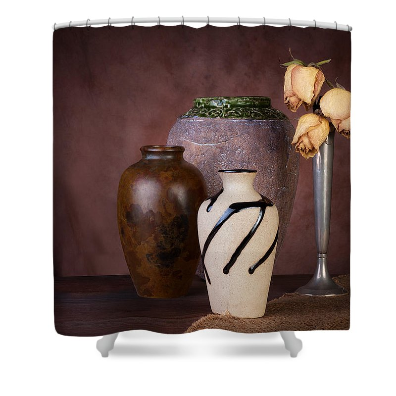 Brown Shower Curtain featuring the photograph Vase And Roses Still Life by Tom Mc Nemar