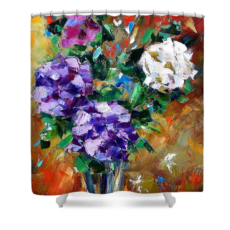 Flowers Shower Curtain featuring the painting Vase Of Color by Debra Hurd
