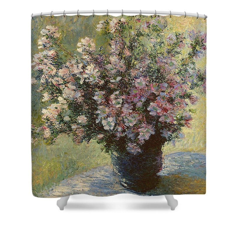 Beautiful Shower Curtain featuring the painting Vase Of Malva Flowers, 1880 by Claude Monet