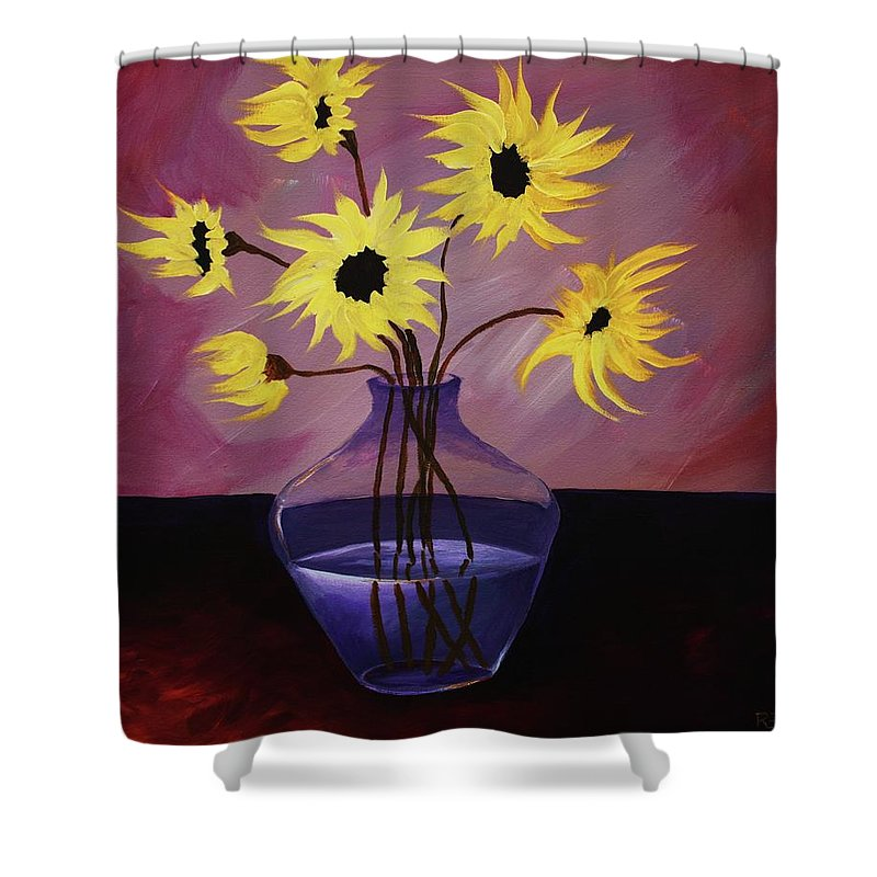 Flowers Shower Curtain featuring the painting Flaming Petals by Angel Reyes