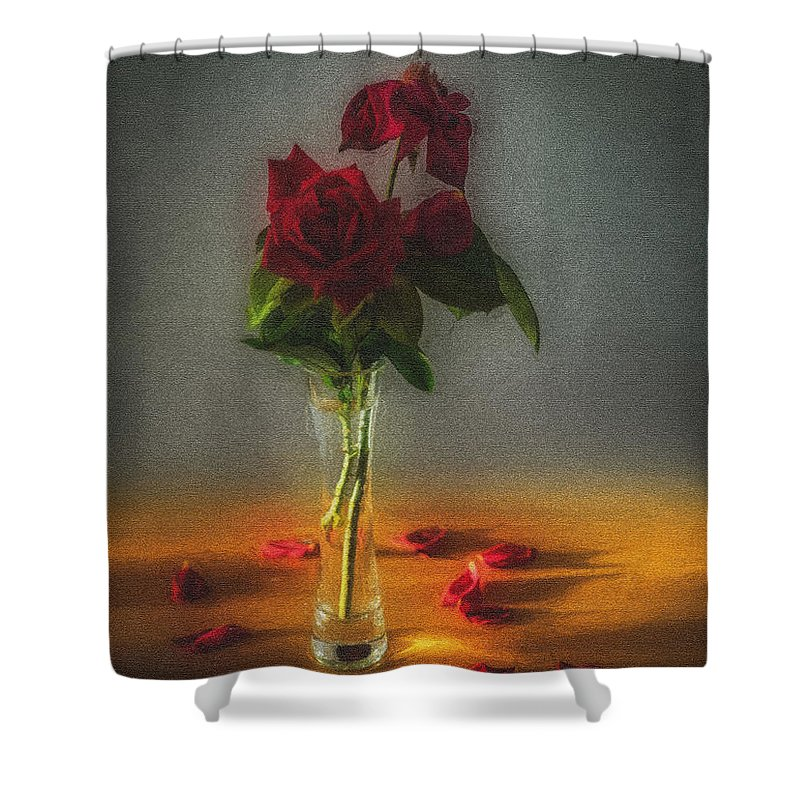 Art Shower Curtain Featuring The Photograph Vase Of Red Roses With Petals Falling By Peter Hayward