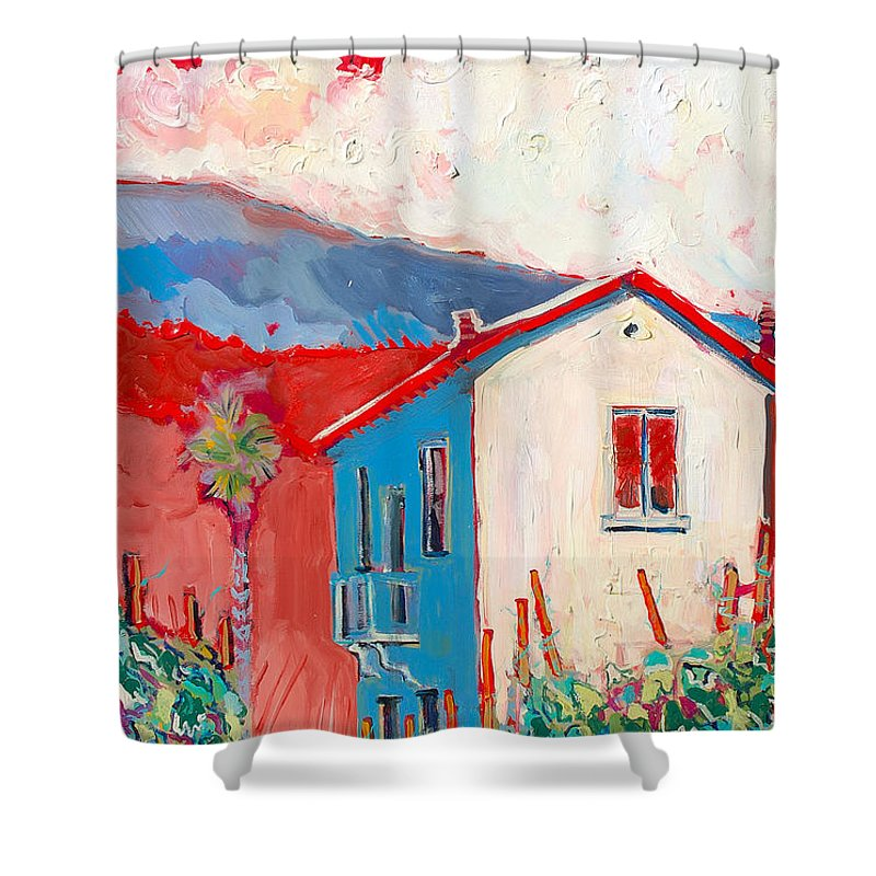 Tuscany Shower Curtain featuring the painting Vecchio Casa by Kurt Hausmann