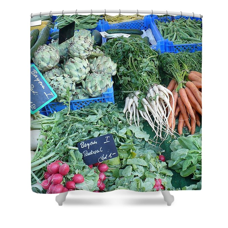 European Markets Shower Curtain featuring the photograph Vegetables At German Market by Carol Groenen