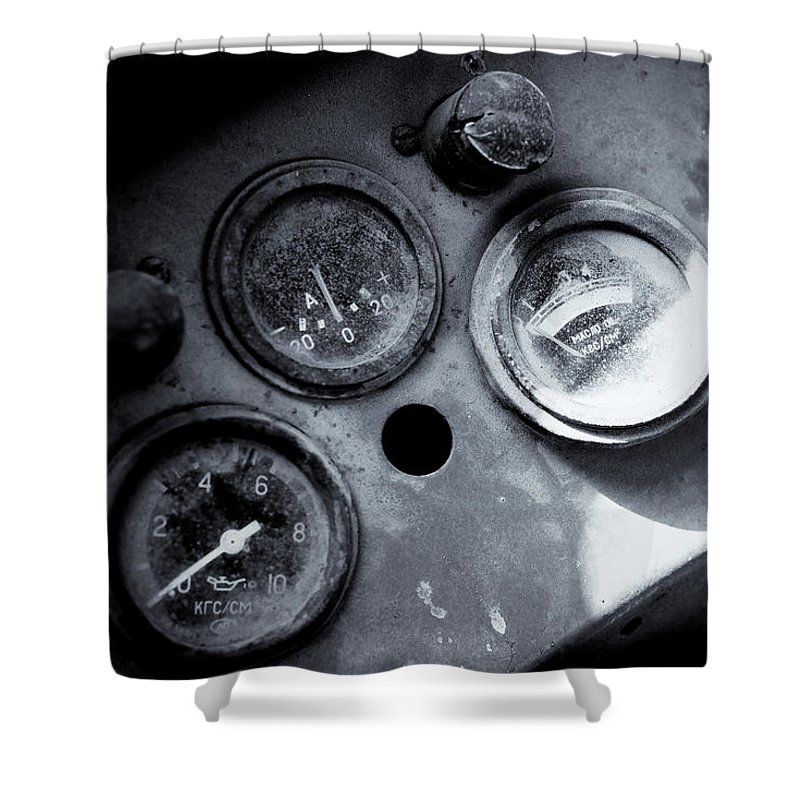Vehicle Dials Shower Curtain featuring the photograph Vehicle Dials In Dust by John Williams