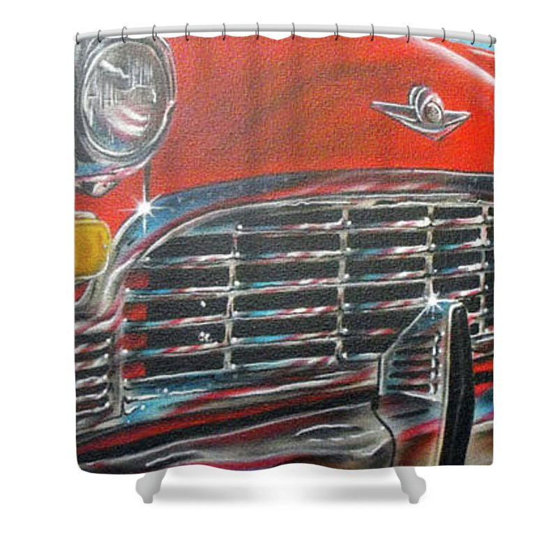 Airbrush Shower Curtain featuring the painting Vehicle- Grill by Shawn Palek
