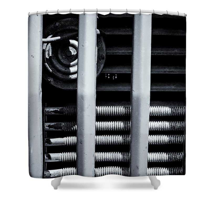 Vehicle Radiator Shower Curtain featuring the photograph Vehicle Radiator Abstract II by John Williams