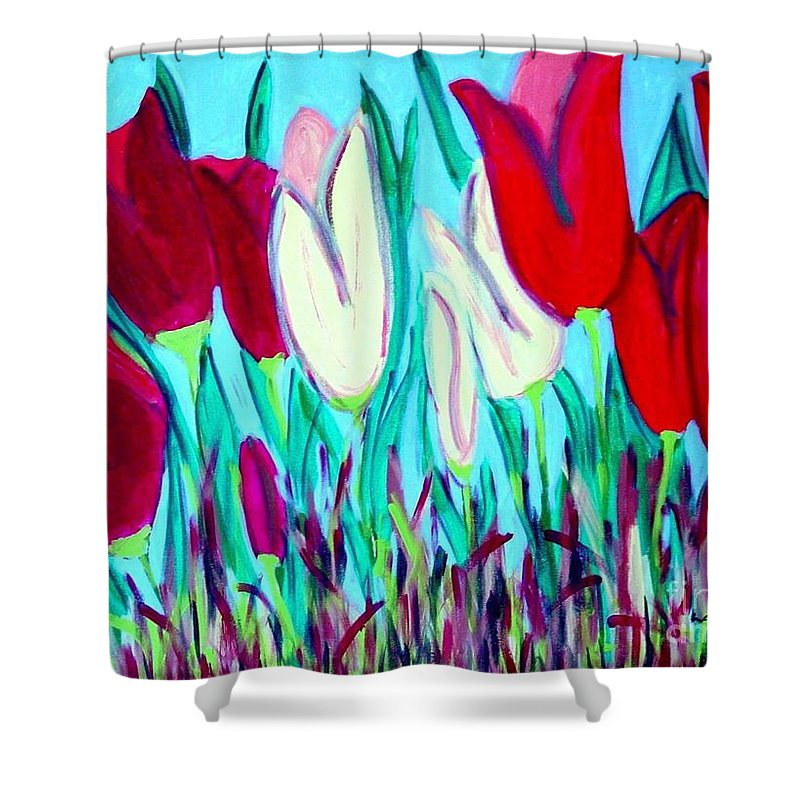 Tulips Shower Curtain featuring the painting Velvet Tulips by Laurie Morgan