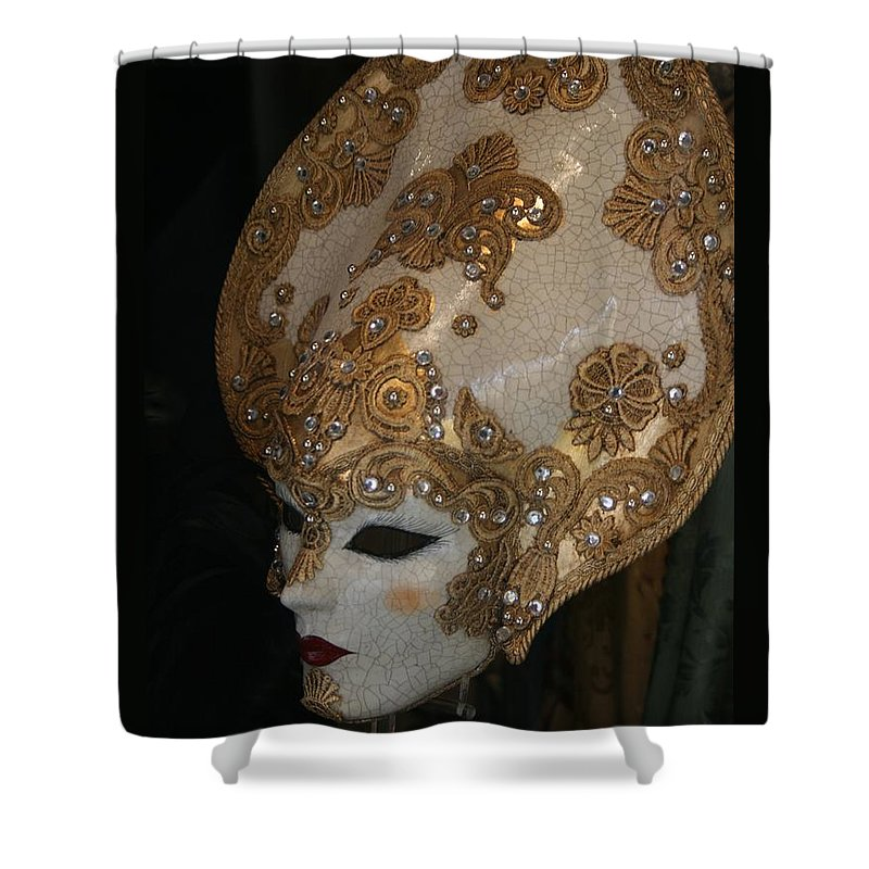 Masks Shower Curtain featuring the photograph Venetian Mask by Valia Bradshaw