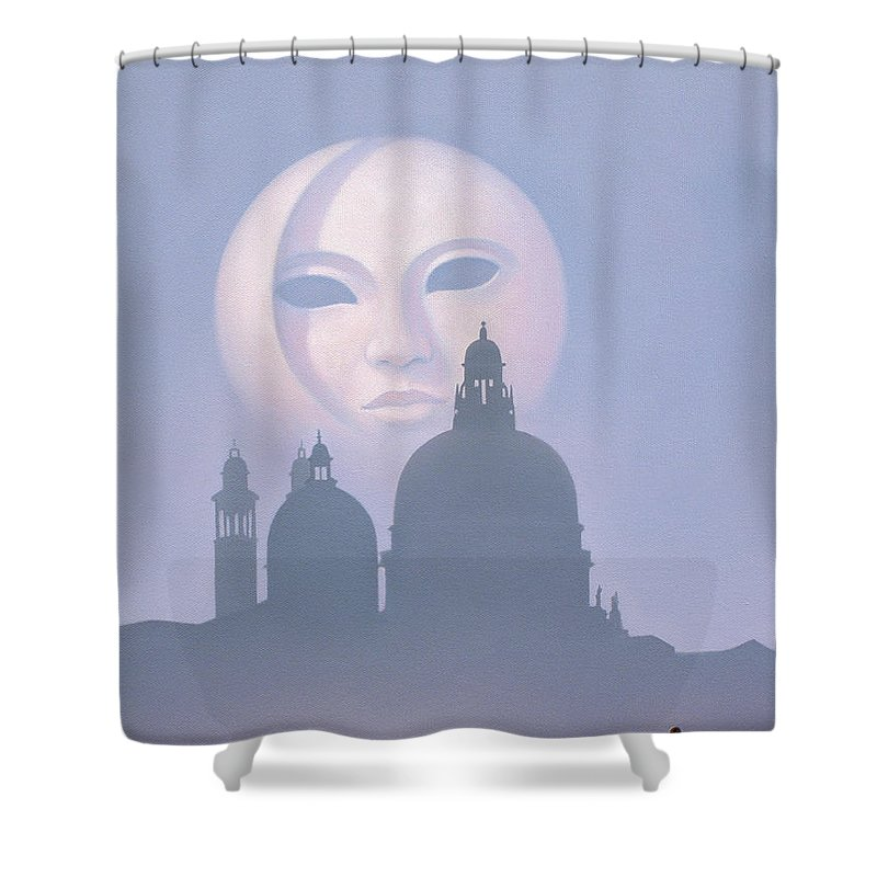 Venice Shower Curtain featuring the painting Venetian Moon by Brian McCarthy