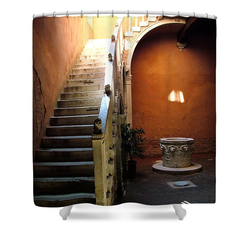 Architecture Shower Curtain featuring the photograph Venetian Stairway by Donna Corless