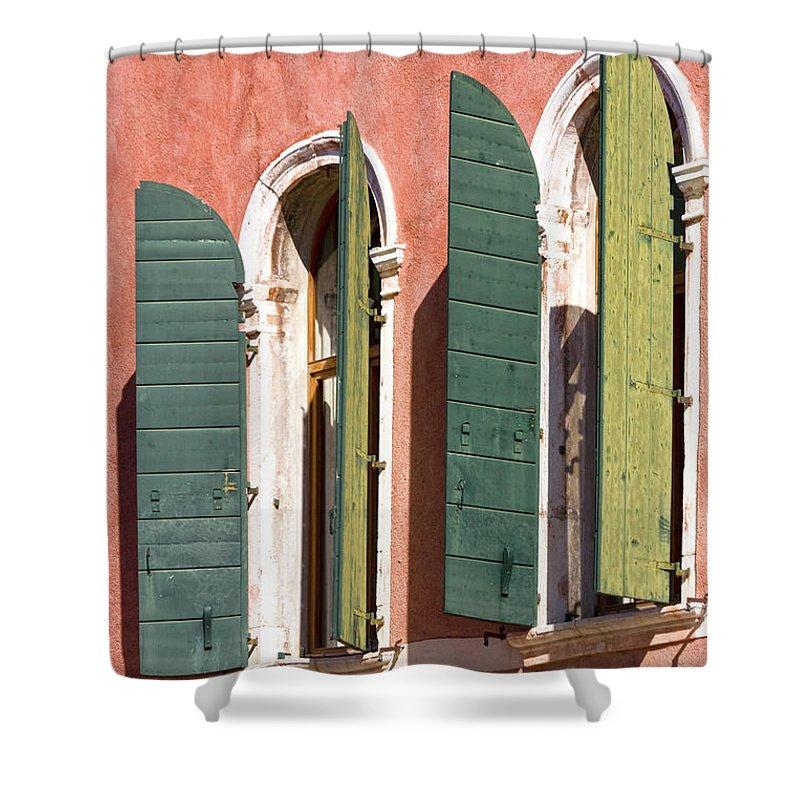 Europe Shower Curtain featuring the photograph Venetian Windows by Heiko Koehrer-Wagner