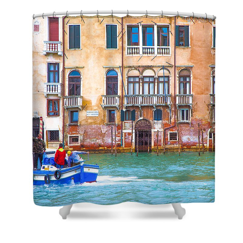 Italy Shower Curtain featuring the photograph Venice Boat Under The Rain by Jean-luc Bohin