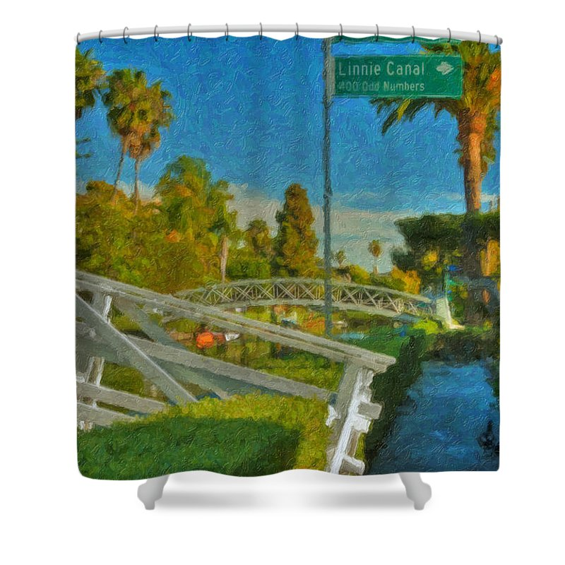 Venice Canal Bridge Signs Shower Curtain featuring the photograph Venice Canal Bridge Signs by David Zanzinger