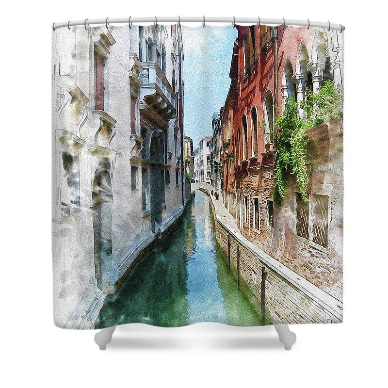 Venice Shower Curtain featuring the digital art Venice Canal by Diana Van