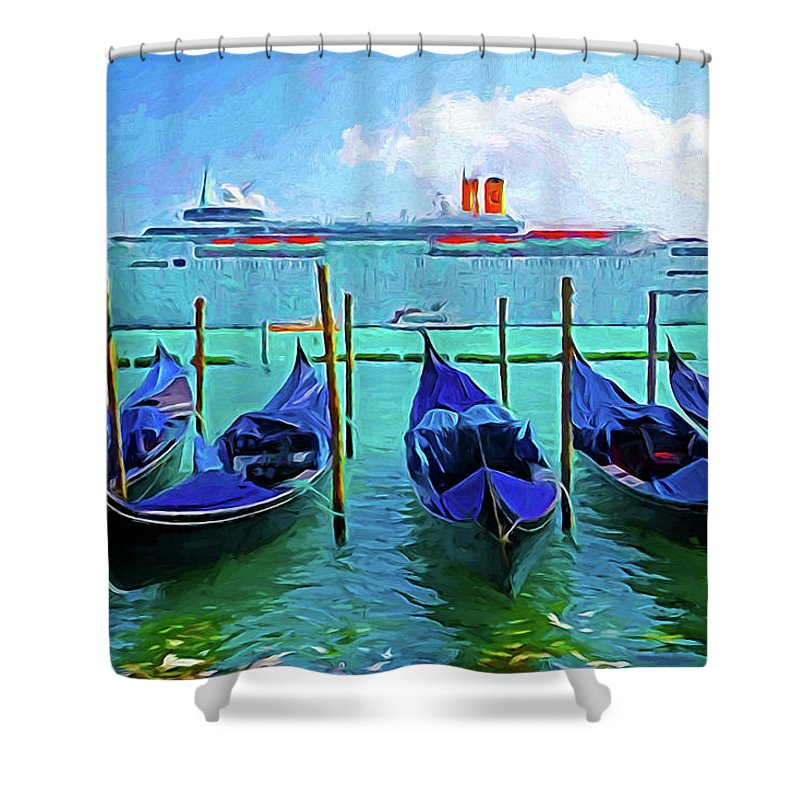 Italian Italy Shower Curtain featuring the photograph Venice Cruise Ship by Dennis Cox