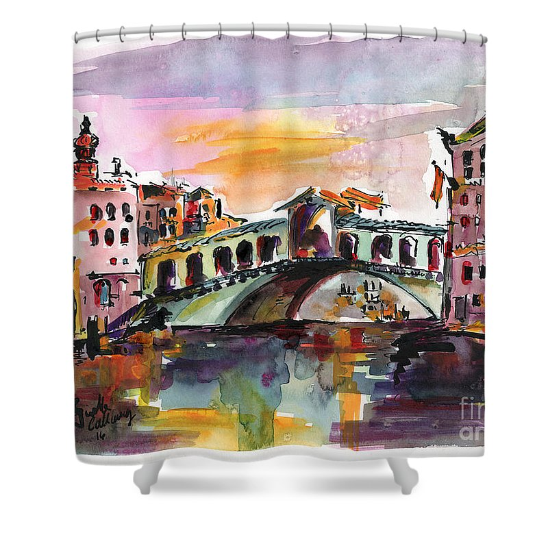 Venice Italy Silence Rialto Bridge Shower Curtain For Sale By Ginette Callaway