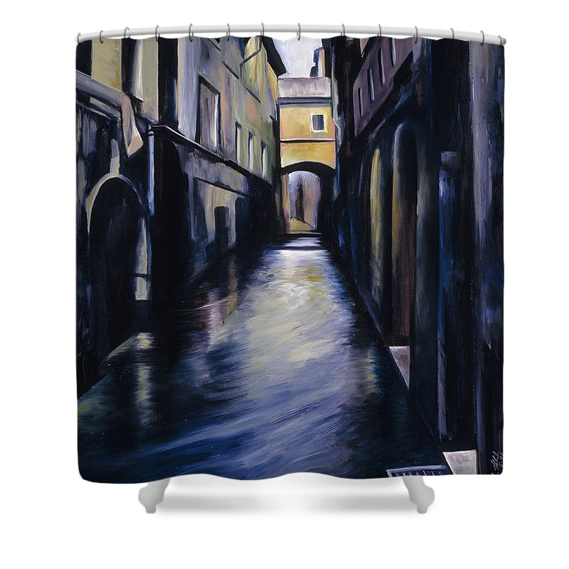 Street; Canal; Venice ; Desert; Abandoned; Delapidated; Lost; Highway; Route 66; Road; Vacancy; Run-down; Building; Old Signage; Nastalgia; Vintage; James Christopher Hill; Jameshillgallery.com; Foliage; Sky; Realism; Oils Shower Curtain featuring the painting Venice by James Christopher Hill