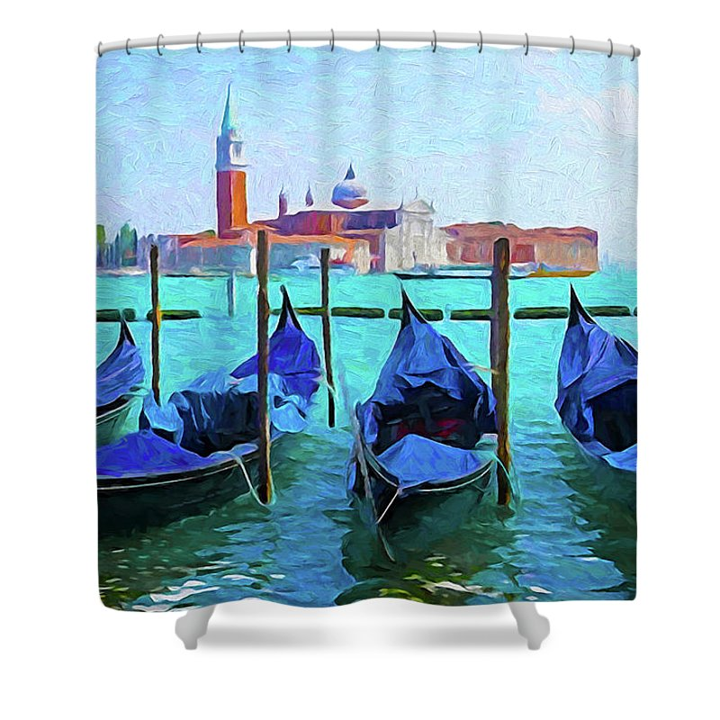 Italy Shower Curtain featuring the digital art Venice Lagoon Gondolas by Dennis Cox