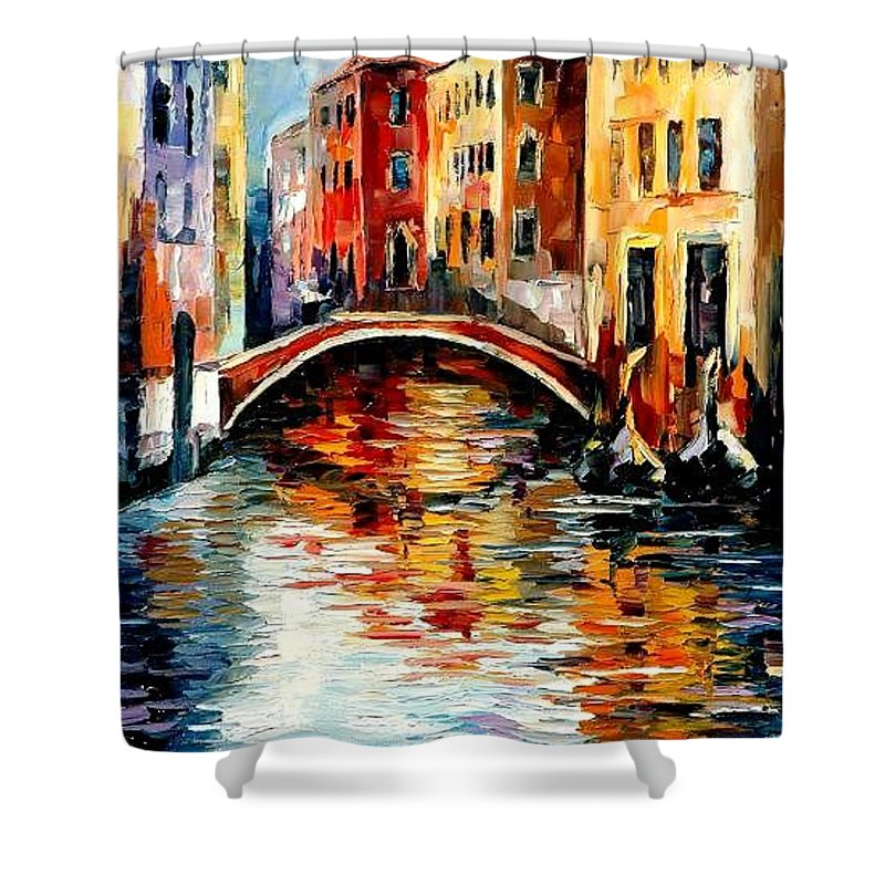 Landscape Shower Curtain featuring the painting Venice by Leonid Afremov
