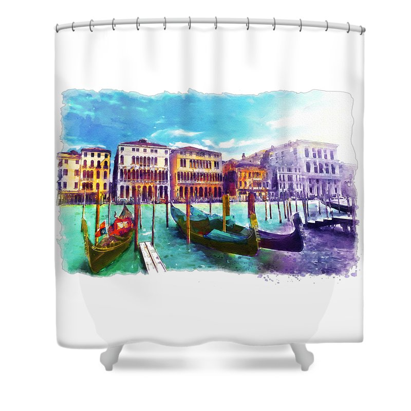 Venice Shower Curtain featuring the painting Venice by Marian Voicu