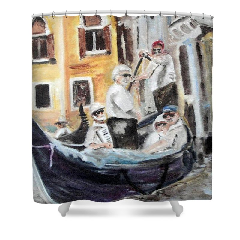 Canal Shower Curtain featuring the painting Venice Party by Chuck Gebhardt