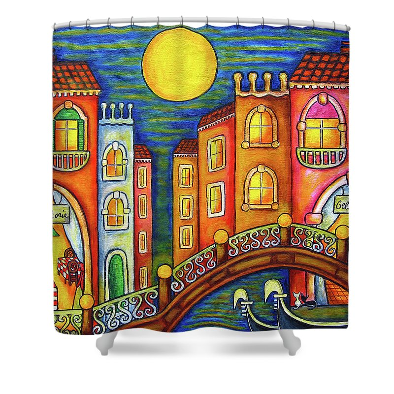 Colourful Shower Curtain featuring the painting Venice Soiree by Lisa Lorenz