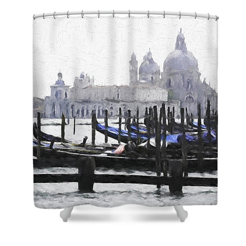 Italy Shower Curtain featuring the digital art Venice Waterfront by Dennis Cox