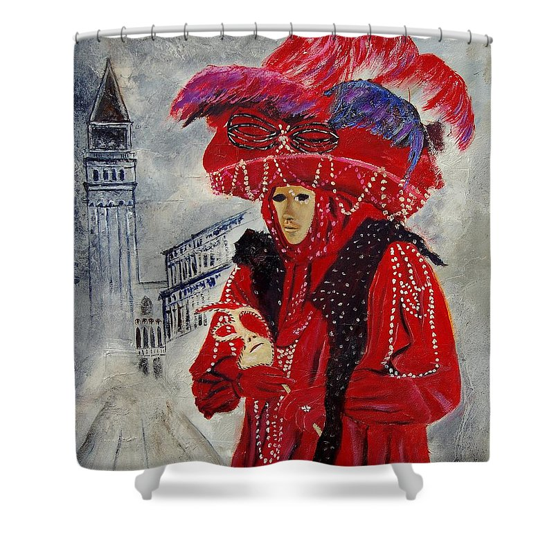 Venice Shower Curtain featuring the painting Venitian Mask 0130 by Pol Ledent