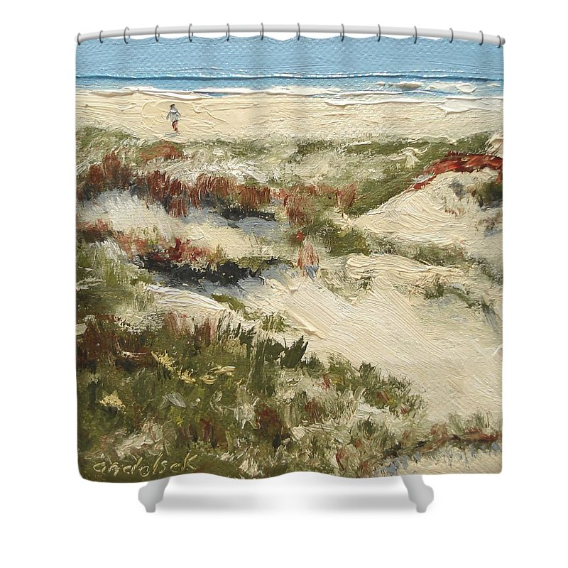 Water Shower Curtain featuring the painting Ventura Dunes II by Barbara Andolsek