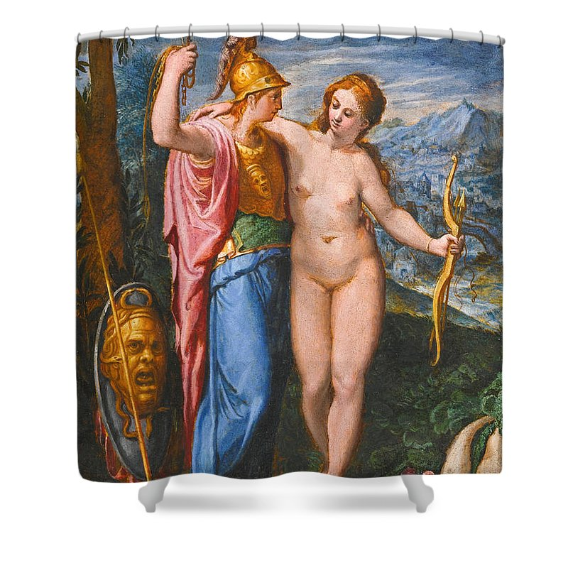 Flemish School Shower Curtain featuring the painting Venus And Minerva In A Landscape by Flemish School