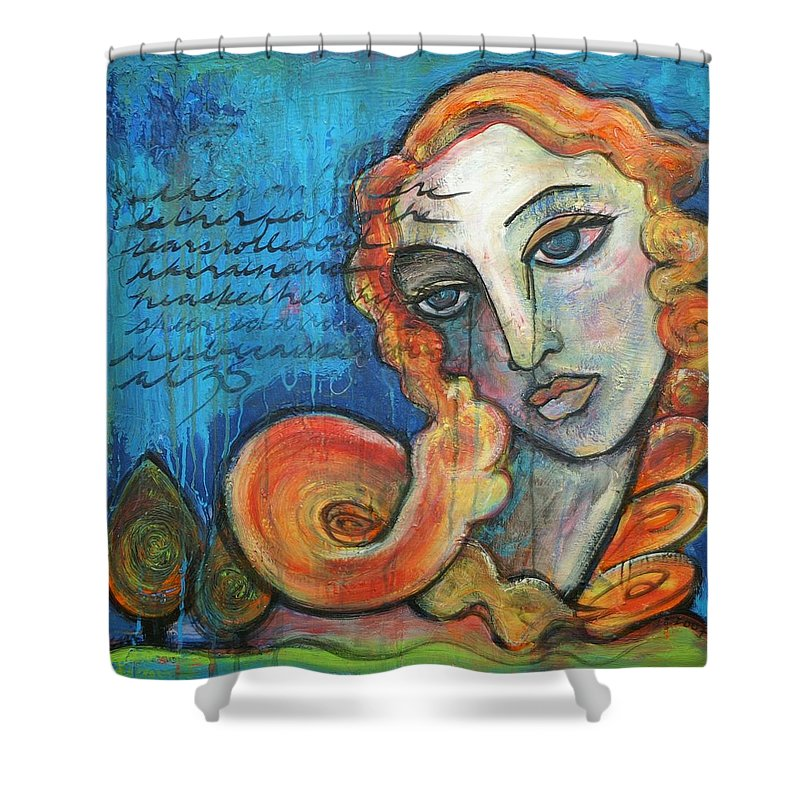 Venus Shower Curtain featuring the painting Venus Lets Go by Laurie Maves ART